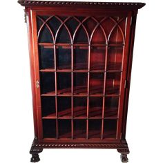 Rare Antique Chippendale Ball & Claw Foot Mahogany China Cabinet Circa 1880's from Dovetail Antiques and Collectibles on Ruby Lane