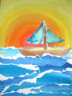 Yacht at sunset art project for kids Winter Crafts For Kids, Summer Crafts, Spring Art, Summer Art, Painting For Kids, Art For Kids, Classe D'art, Art Du Collage, Tableaux Vivants