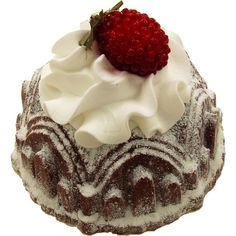 Bundt Cake Chocolate Raspberry Fake Food USA - DecorCentral.com Fake Food (DBA - Flora-cal Products) found on Polyvore