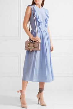 Miu Miu - Ruffled Silk Crepe De Chine Midi Dress - Sky blue - IT46