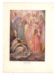 Vintage bible print llustrations angel angels art old page drawing  book plate paper ephemera Old Victorian recycle upcycle  Biblical art