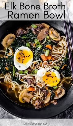 This elk bone broth ramen bowl is an easy pressure cooker recipe made with hearty elk bone broth combined with deliciously fresh ramen ingredients. Elk Meat Recipes, Hearty Soup Recipes, Great Recipes, Game Recipes, Favorite Recipes, Easy Pressure Cooker Recipes, Celery Rib, Ramen Bowl