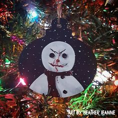 Hand painted killer Jack Frost snowman Christmas ornament