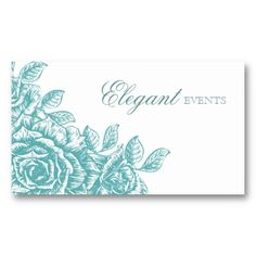 Wedding Event Planner Rose Flower Salon Baby Blue Business Card Templates