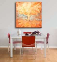 """Tree Painting original contemporary modern abstract art """"Golden Summer""""  by JessicaOart."""