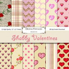 Shabby Valentines digital paper linen paper by DigitalVintages