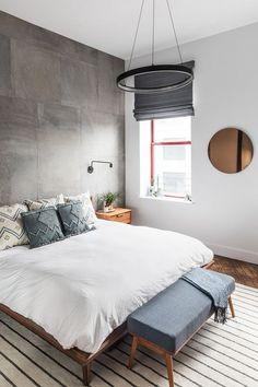 Decoración de habitaciones pequeñas Bedroom Set Designs, Bedroom Layouts, Bedroom Styles, Living Room Furniture, Living Room Decor, Bedroom Decor, Bedroom Ideas, Master Bedroom, Concrete Bedroom