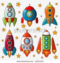 Cartoon spaceship isolated on white background