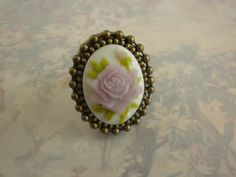 Victorian Poison Ring with Lavender Rose and Bronze by TheQuietbee, $18.00