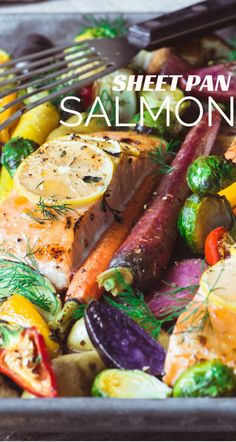 This quick and easy Sheet Pan Salmon with Caramelized Vegetables is a simple one pan meal that will draw oohs and aahs from the dinner crowd.