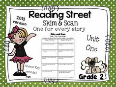 Use these Skim and Scan guided worksheet to teach students how to skim and scan stories for answers. You get a worksheet  and answer key for each story. Reading Street 2013Unit 1:Iris and WalterExploring Space with AstronautsHenry & MudgeA Walk in the DesertThe Strongest One**Preview is from Unit OneClick here to get,  Skim and Scan 2011 VersionClick here to get,  Weekly Skills, Vocabulary, and Comprehension Test Unit OneClick here to get,  Weekly Skills, Vocabulary, and Comprehension Tes...