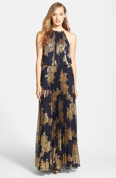 Xscape Foiled Blouson Gown available at #Nordstrom