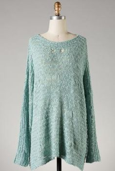 Common Thread Distressed Knit Sweater in Mint Green | Sincerely Sweet Boutique