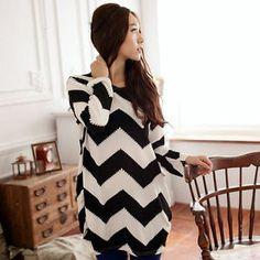 tamanho grande l -xl Stripes Mulheres Crewneck manga comprida Casual solto camisola de malha Tops frete grátis 6.99