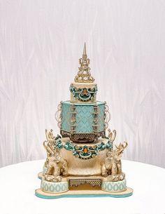 Sugar Art Show winners named at Tulsa State Fair-Grand Prize winner Jennifer Matsubara Beautiful Wedding Cakes, Gorgeous Cakes, Pretty Cakes, Amazing Cakes, Indian Cake, Indian Wedding Cakes, Cake Wedding, Gold Wedding, Amazing Food Art