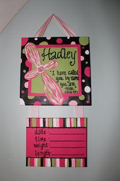 Custom Hospital Door Hanger. Scripture Cross and Coordinate with Nursery Colors. $45.00, via Etsy.