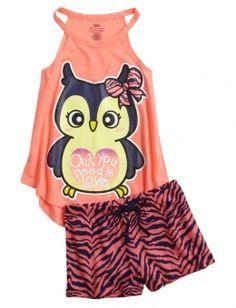 Owl Zebra Print Pajama Set