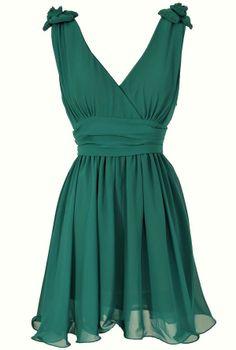 Rosette Shoulder Dress in Hunter Green  www.lilyboutique.com