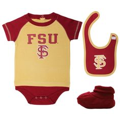 Florida State Seminoles (FSU) Infant Little Tee Creeper, Bootie & Bib Set – Garnet