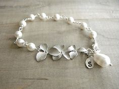 Fancy Personalized Initial Leaf with Silver Orchid and White Teardrop Pearl Bracelet - Bride, Bridal party, Bridesmaid @Melissa Brown Olsem