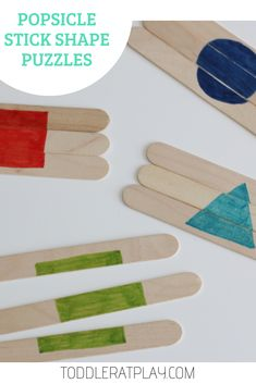 I have a quick and easy to set-up activity for your little ones…it's these Shape Puzzles using popsicle sticks! They're super easy to make (took me less than 5 minutes, quite literally! Popsicle Stick Crafts, Popsicle Sticks, Craft Stick Crafts, Classroom Activities, Toddler Activities, Preschool Activities, Elderly Activities, Preschool Curriculum, Preschool At Home