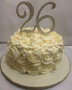 Buttercream rosette cake with bling topper. 26th birthday cake.