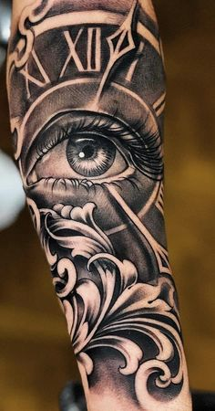 We have a photo gallery featuring cool and meaningful tattoo … Clock Tattoo Ideas.We have a photo gallery. Clock Tattoo Sleeve, Full Sleeve Tattoos, Tattoo Sleeve Designs, Tattoo Clock, Full Hand Tattoo, Compass Tattoo, Forarm Tattoos, Chicano Tattoos, Body Art Tattoos