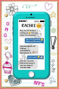 Printable cell phone text message birthday invitation iphone cell phone emoji tween teen birthday invitation cellphone invitation emoji invite cellphone invite tween birthday teen birthday text stopboris Images