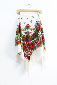 White Floral Russian Shawl • Beautiful babushka scarf with fringe. Make any outfit bohemian with this red, pink and green paisley shawl scarf.