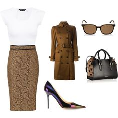 """""""Work Look 2"""" by alejo-londono on Polyvore #look #fashion #burberry #jimmychoo #bag #shoes #sunglasses #work #prorsum #coat #skirt #pointedtoe #girl #girllook #woman #womanlook"""