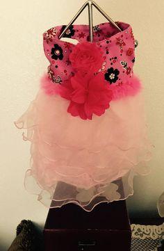 Small  Primrose Ruffle Harness Dog Dress-Pink