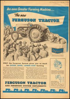 #TBT - A 1948 Vintage Magazine Ad for The New Ferguson Tractor, a crucial part of not only the #MasseyFerguson history but #tractor history.  Source: eBay