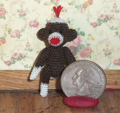 Micro Sock Monkey Brown 1 1/2 inch Baby Sock Monkey by Linsthings, $15.00