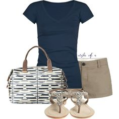 Blue and Khaki, created by styleofe on Polyvore