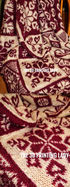Nordic Christmas Blanket.   Hand-knitted fabric in two interchanging colours. Double knitted motives alternating in colour.   Hand knitted in 100% virgin wool.   Original project completed in January 2013.   © HD Grzywnowicz, 2019   www.3dprintinglady.com   #nordic #fairisle #knitting #blanket #motives #christmas #noel #fabric #handmadefabrics #designer #fabrication #craft #hybridfabrics #tricot #編み物 #burgundy   #3dprintinglady #3dpl