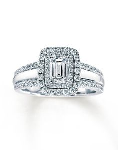 diamond engagement ring 1 12 ct tw emerald cut 14k white gold by kay jewelersemerald cutdiamond engagement ringswedding