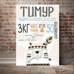 Купить Метрика детская постер для мальчика - белый, метрика, Метрика для мальчика, метрика на заказ