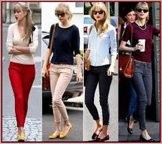 taylor swift ~ cute outfits using red, beige, black & blue skinny pants Fall Outfits, Summer Outfits, Casual Outfits, Cute Outfits, Classy Outfits, Taylor Swift Outfits, Taylor Swift Style, Fashion Moda, Fashion Trends