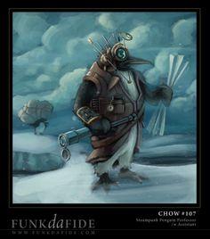 Steampunk Penguin Professor