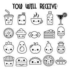 Kawaii drawing food icons digital stamps food icons cute food drawings kawaii drawings step by step animals Cute Food Drawings, Cute Kawaii Drawings, Doodle Drawings, Food Drawing Easy, Emoji Drawings, Drawing Ideas, Simple Cute Drawings, Simple Cartoon Drawings, Simple Doodles Drawings