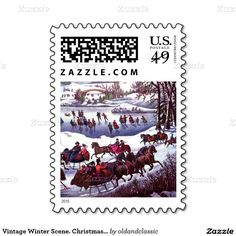 Christmas Postage Stamps with a vintage Winter Scene. Central Park in Winter Lithograph by Currier and Ives, circa 1862. Matching card and other products available in the Christmas & New Year / Fine Art Category of the oldandclassic store at zazzle.com