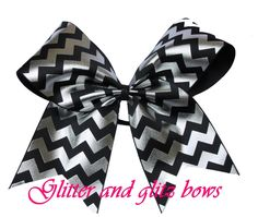 Cheer Bows - Silver and Black Chevron Grosgrain Cheer Bow, Girls, hair bow, hair bows, cheerleader, team, dance, cheerleading, bow, grey by Glitterandglitzbows on Etsy https://www.etsy.com/listing/234846253/cheer-bows-silver-and-black-chevron
