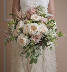 David Austin Roses Wedding Bouquet in Pastel Pink and Cream Blush Wedding Flowers, Rose Wedding Bouquet, Floral Wedding, Rose Flowers, Purple Wedding, Silk Bridal Bouquet, Blush Bouquet, Bridal Bouquets, Flower Bouquets