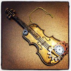 Steampunk violin ornament!