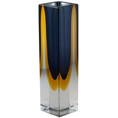 A Heavy Rectangular Murano Sommerso Glass Vase Blue and Gold | 1stdibs.com #1stdibsHoliday