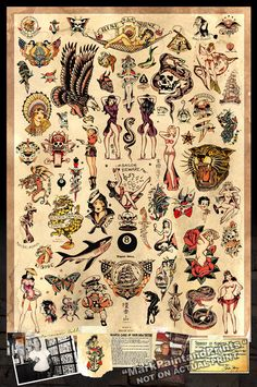 Sailor Jerry Tattoo Flash  cartel imprimir 24 x 36  envío