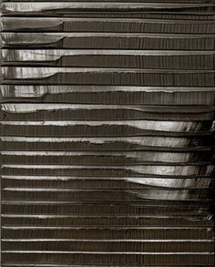 "Pierre Soulages, Peinture, 15/09/09  Soulages also is known as ""the painter of black"" because of his interest in the colour, ""... both a colour and a non-colour. When light is reflected on black, it transforms and transmutes it. It opens up a mental field all of its own""."
