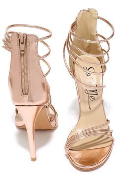 "Whether you're sippin' on sweet tea or out with the girls, the Downright Darling Rose Gold High Heel Sandals know how to make it a good time! An array of straps at the toe and ankle splay out and connect at the outstep. Metallic rose gold. 3.5"" heel zipper."