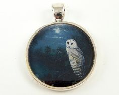 Owl Pendant - Night Sky Moon Navy Blue Gray Silver Nature Jewelry Charm on Etsy, $15.00