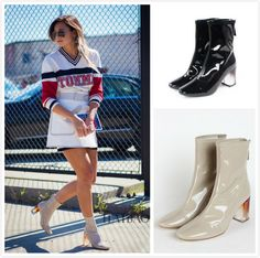 LALA IKAI Sock Boots Transparent Heel Boots Women Square Toe Thick Heel Boots XWN0962-5#transparent boots
